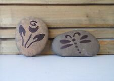 "Garden Rocks, Hand Painted with Butterfly and Flower 4"" across, Big Heavy Stones"