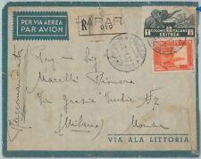 72014  - ERITREA / SOMALIA - Storia Postale - Affrancatura MISTA su BUSTA 1937