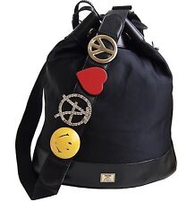 """MOSCHINO BY REDWALL Bucket Handbag """"Peace Love & Smiley Face"""" Nylon Leather"""