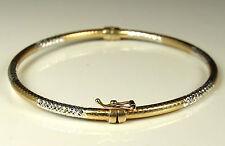 STERLING & GOLD Vermeil HINGED BANGLE Bracelet~Signed~SPARKLY Light Catcher! EX!