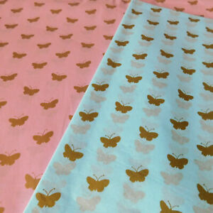Baby Blue or Pink Luxury tissue Paper with Gold Butterfly 50 x 75cm 10 Sheets