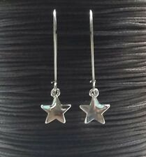 Silver Star Earrings Long Drop Dangle Hook Statement (50mm drop)