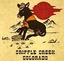 Vintage 70s Cripple Creek Colorado Iron-On Transfer Gold Miner Mule RARE!