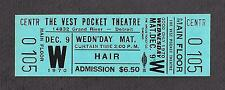 "Meat Loaf ""HAIR"" American Tribal-Love Rock Musical 1970 Unused Detroit Ticket"