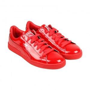 Puma Foil Bright Red Basket Classic Patent Leather Shoes Men's 6.5 NWOT DISC
