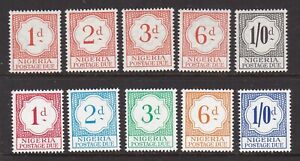NIGERIA 1959 AND 1961 POSTAGE DUE SETS NEVER HINGED MINT