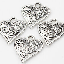 10Pcs Carved Heart Shape Tibetan Silver Charms Pendants Jewelry Findings 16X15mm
