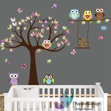 Árbol/Flor/Búho/Aves/Ardilla Guardería Niños Bebé Niña Arte Pared Adhesivo Calcomanía