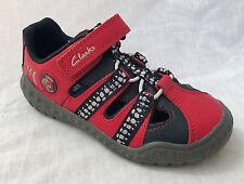 1c0311b88439ff BNIB Clarks Boys Stomp Ride Red Leather Sandals F G Fitting