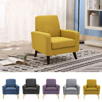 Living Room Modern Accent Fabric Chair Single Sofa Comfy Upholstered Arm Chair