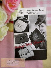 Vintage Knitting Pattern Crochet Pattern For Bag In 3 Styles ONLY £2.99 FREE P&P