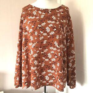 M&S Collection Orange Smock Blouse Floral Print Size 22 Long Blouson Sleeves