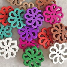 100pcs Mixed Colors Flower Wooden Buttons Craft Sewing DIY Cards Hnk006