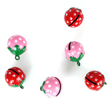 50pcs Color Strawberry bells Shaped Brass Jingle Bells Jewelry Charms Pendants