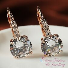 18K Rose Gold Plated Simulated Diamond 4.0 Ct Round Cut Sparkling Hoop Earrings