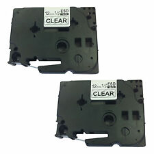 2 X hermano compatible Tz131 Cinta de casete Para P-touch 1080 12mm black/clear