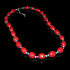 925 Sterling Silver Genuine Orange Red Coral Turquoise Necklace