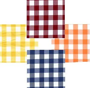 GINGHAM POLY COTTON CHECK TABLE CLOTH COVER - VARIOUS COLOURS