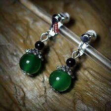 ohrringe`Ohren Clips Stein Achat schwarz grün Antik Stil Super hübsch E8