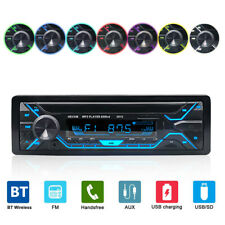 In-dash Car Stereo Bluetooth MP3 Player Radio AUX USB TF 1 DIN 7 Color Remote