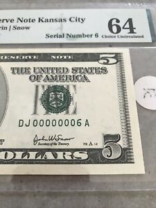 (( ONE DIGIT )) 2003 $5 LOW SERIAL NUMBER CURRENCY *3 DAY AUCTION ONLY*