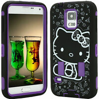 Hybrid Case for Samsung Galaxy S5 S 5 Cover Skin Hello Kitty Shockproof Purple