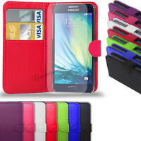 Samsung Galaxy A3 (2015)  - Leather Wallet Case Cover +Free Screen Protector