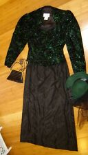 Victorian Hello Dolly lady sz 4 5 dress black skirt hat green jacket costume