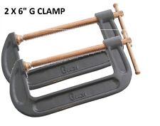 """Pack OF 2 Heavy Duty 150mm 6"""" G Clamp Vice Wood Metal Steel DIY Welding Work New"""