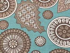 Fabric Cooky Birds Paisley Mandalas Grey Coordinate on Teal Cotton by 1/4 yard