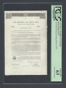 Costa Rica 20 Pounds Sterling Funding Bond 1953 Photographic Proof Uncirculated