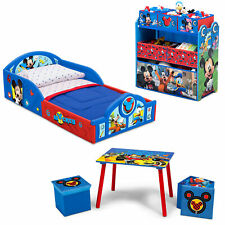 Mickey Mouse Toddler Bedding Set Table Ottoman Toy Bin Organizer Kid Bedroom