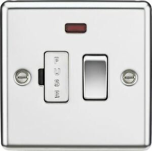 Knightsbridge 13A Switched Fused Spur Unit w/ Neon Rounded Edge Polished Chrome