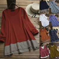 Women's O-Neck Top Solid Color Lace Patchwork Long Sleeve Tops T-Shirt Blouse I