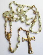 Ancien Chapelet de main perles de nacre croix gravée couleur or étuis cuir 5091