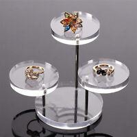 Acrylic Jewelry Organizer Display Necklace Bracelet Round Holder Stand Rack Case