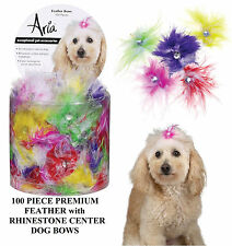 100 pc Premium Feather&Rhinestone Center Jewel BOWS w/Elastic Band DOG Grooming