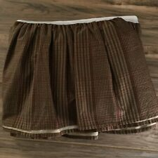 Chaps Ralph Lauren Summerton Bed Skirt Houndstooth Brown Plaid Queen * Mint *