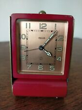 More details for jaeger 1920s travel alarm clock in  red and in excellent condition working order