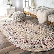 Hand Braided Oval Rug Cotton Chindi White Base Chindi Floor Dhurrie Various Size