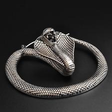 Cobra Snake Plug Hoops Earrings | Antique Silver | Ear Hangers | Sold As Pair