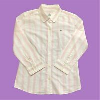 Womens Lacoste Shirt Medium White/Pink Long Sleeve
