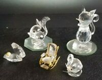 5 PC SWAROVSKI Crystal Figurines Set - Chair Cat Mouse Clam w/ Pearl Squirrel