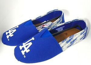 Los Angeles Dodgers Women's Side Wordmark Canvas Shoes Flats by FoCo