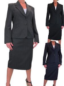Ladies Formal Business Lined Blazer Jacket Below Knee Skirt Suit 14-22