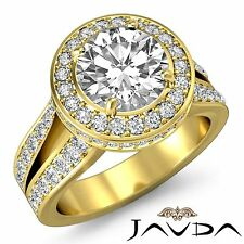 Round Diamond Engagement GIA I SI1 18k Yellow Gold Classic Halo Pave Ring 2.8ct