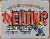BUSTED KNUCKLE GARAGE/ WELDING , ANTIQUE-FINISH VINTAGE STYLE METAL SIGN 41x31cm