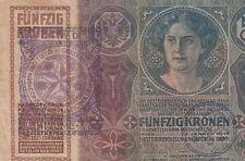 AUSTRIA FIUME BANKNOTE - 50 KRONEN 1914 CITTA DI FIUME Consiglio Nazionale- RARE
