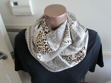 New Silk Twill Scarf Adrienne Landau  Animal Print Leopard Abstract Black Silver