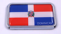 "Dominican Republic Flag rectanguglar Chrome Emblem Car Decal Sticker 3"" x 1.75"""